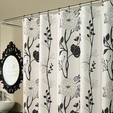 M Style Cassandra 70 X 72 Shower Curtain Black White Black