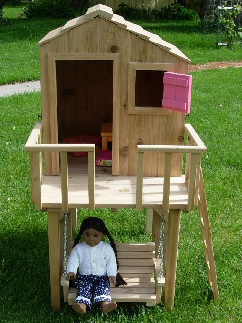 Doll Treehouse For American Girl Or 18 Inch Doll In Painted Pine   Stand  Sold