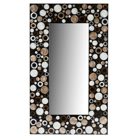 Wall Mirror With A Shell Mosaic Frame Product Mirrorconstruction Material Sea Shells Wood And Mirrored Gl