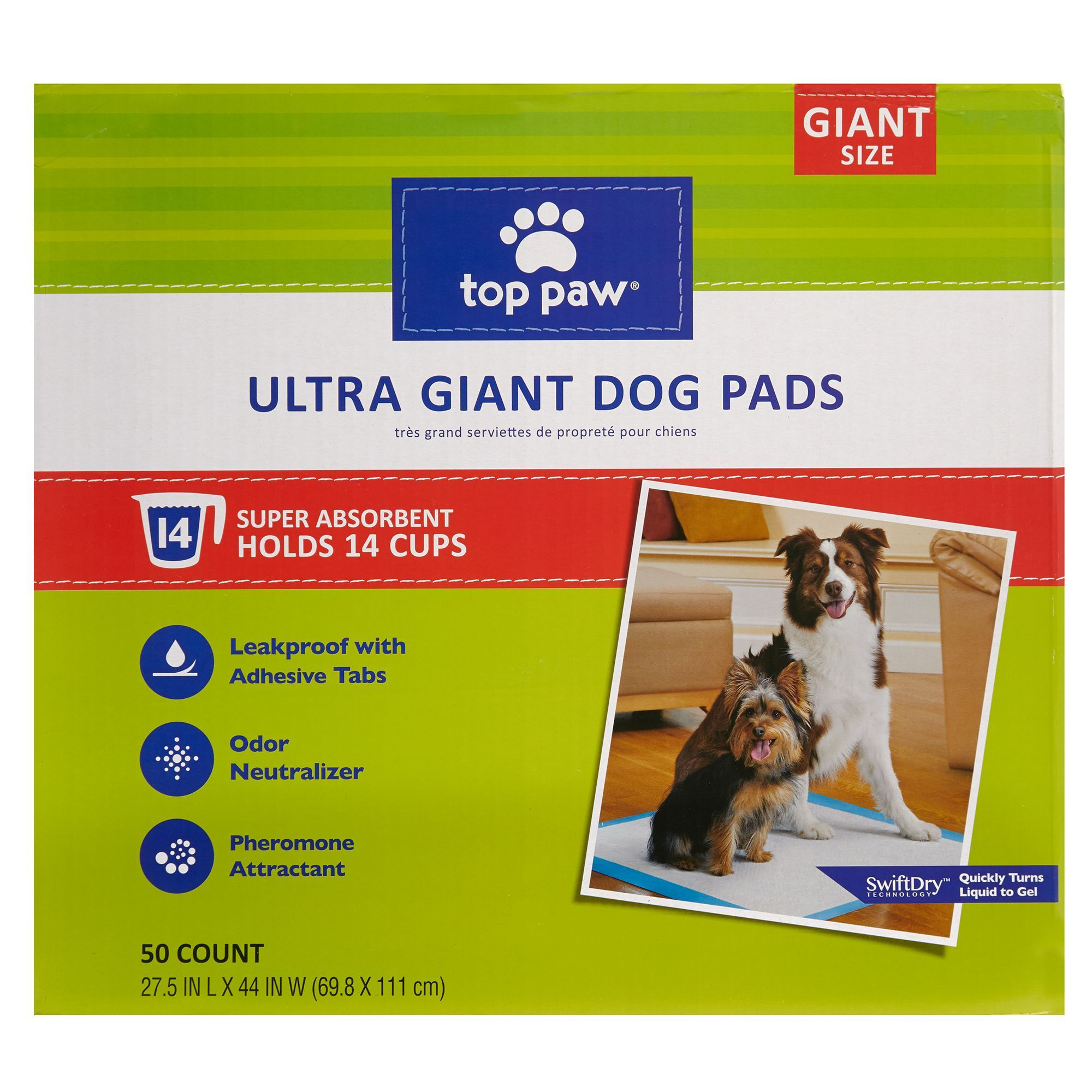 Top Paw Ultra Giant Dog Pads Size 50 Count White Dog Pads