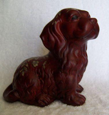 Dog Spaniel Ceramic Figurine Burgundy Color W Floral Design Ebay