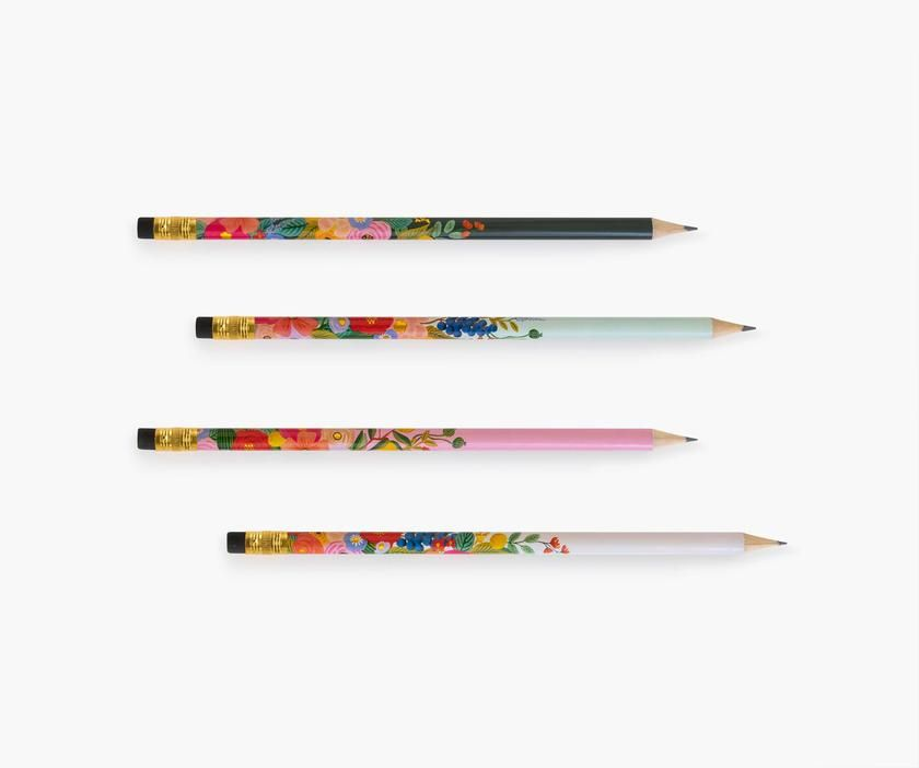 Garden Party Writing Pencils. You'll actually want to use a pencil with these in hand! #riflepaper #riflepaperco #pencil #pencils #flowers #florals #floralpencils #writingutensils #writing #writingpencils