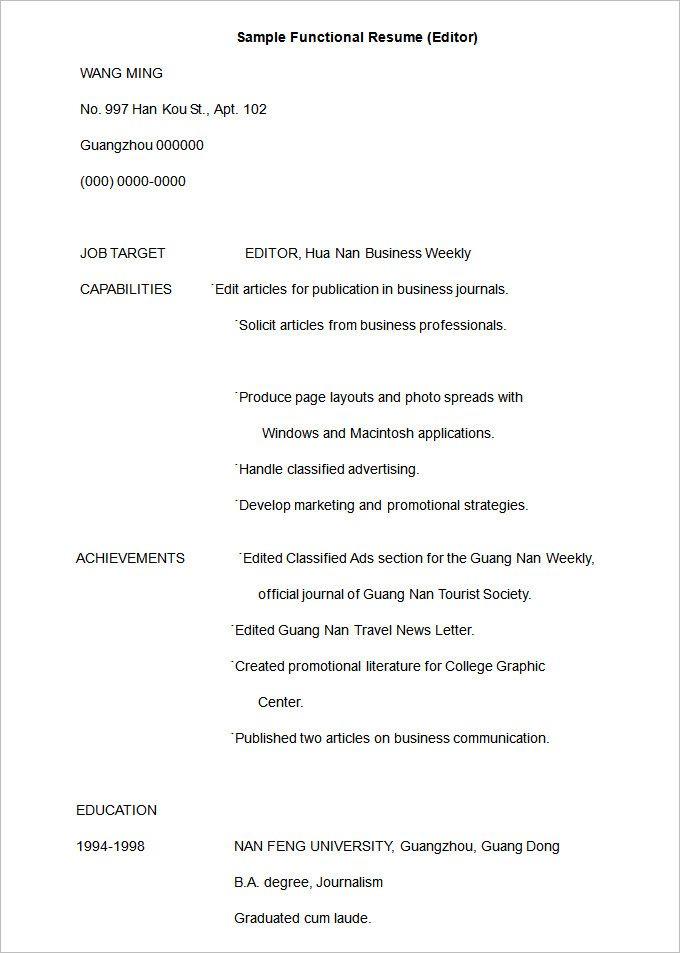 Free Resume Templates Editor Free Resume Templates Pinterest