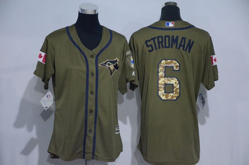 size 40 ea497 f8ae7 Womens 2017 MLB Toronto Blue Jays 6 Stroman Green Salute to ...