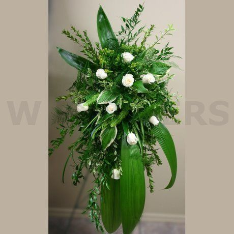 W Flowers product: Funeral Flowers Spray with White Roses | Be at ...