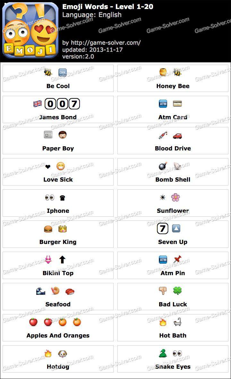 Emoji Words Level 1 20 Emoji Words Emoji Combinations