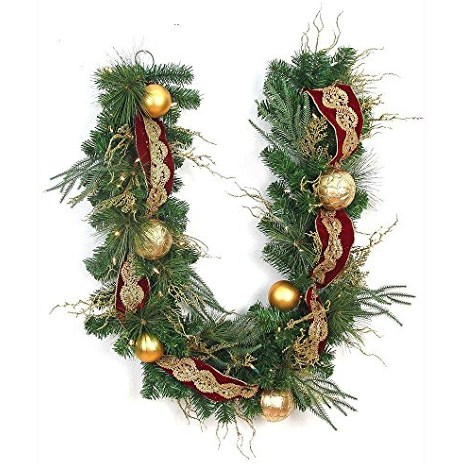 6 Ft Easy To Shape Pre Lit Valenzia Artificial Christmas Garland Decorated With Red Gold Ribb Artificial Garland White Led Lights Artificial Christmas Garland