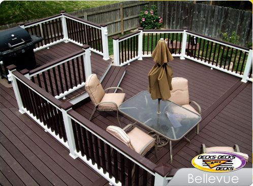 Dark Brown Deck And White Rails Outdoor Ideas