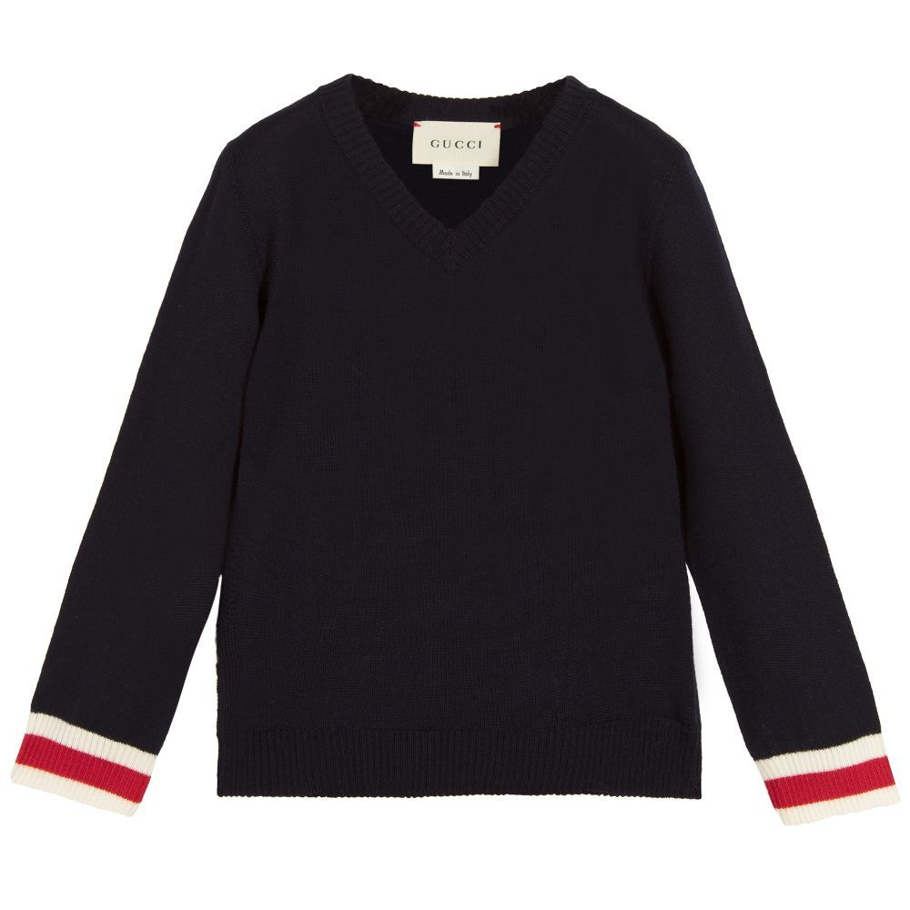 7e6df5154c9a9 Gucci - Baby Boys Blue Wool Sweater