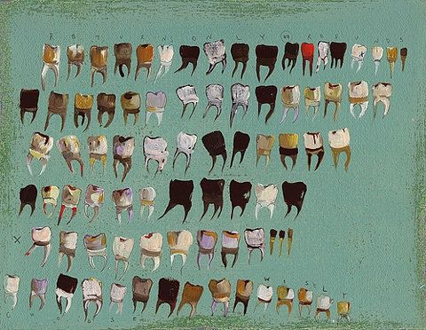 Teeth paintings, Ruth Borum Loveland / lydialemontree