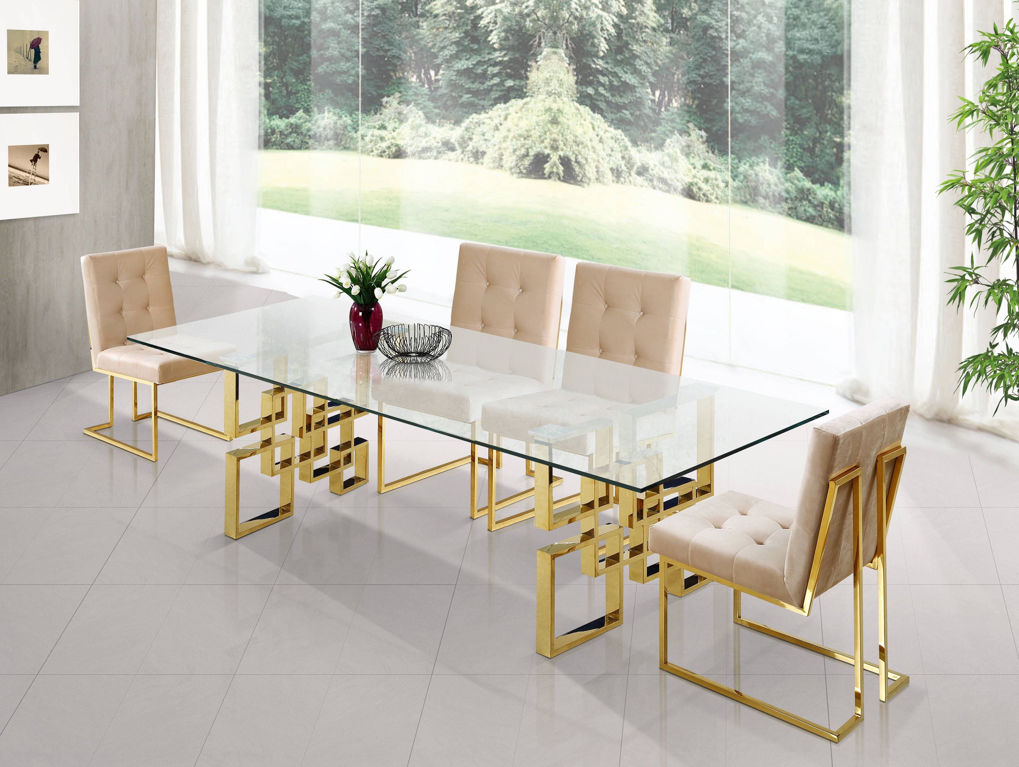 Pierre Rich Gold Steel Beige Navy Velvet Glass Top Dining Room Set