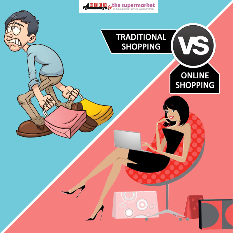 Traditional Shopping Vs Online Shopping - Like a coin, traditional and online shopping, has two sides. What do you prefer? #OnlineGrocery #GroceryShopping #TraditionalShopping
