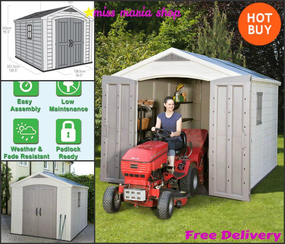 Large Keter Plastic Shed 8 x 11ft Garden Garage Storage Workshop Apex Tools Wide & Large Keter Plastic Shed 8 x 11ft Garden Garage Storage Workshop ...