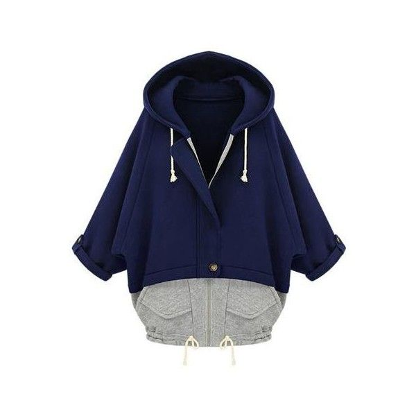 New Women Thin Coat Hooded Patchwork Batwing Sleeves Drawstring Hem... (68 HKD) ❤ liked on Polyvore featuring outerwear, coats, blue coat, thin coat, drawstring coat, pocket coat and hooded coat