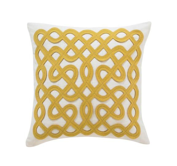 LABYRINTH CITRINE PILLOW from Dwell Studio (100% linen with wool applique, 18 x18) $78 #pillow