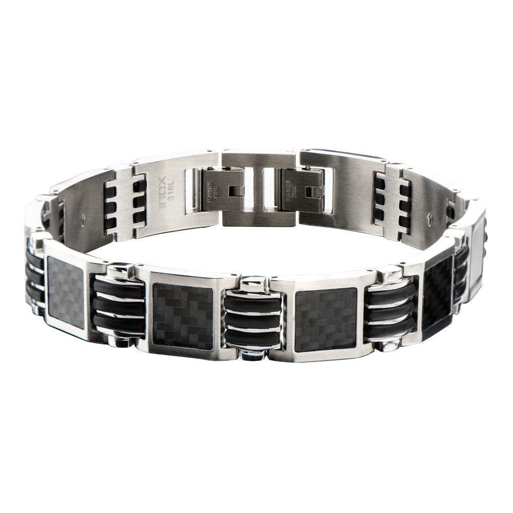 Black carbon fiber link bracelet men jewellery pinterest