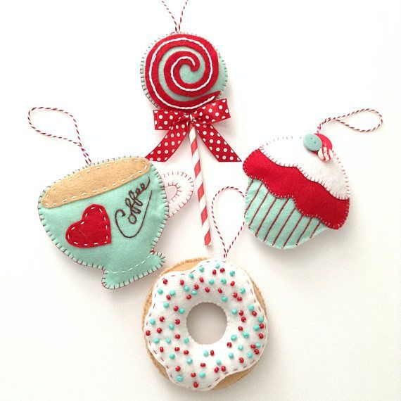 Christmas Ornaments / Xmas Tree ornaments / Set of 4 / Whimsical Felt Xmas Ornaments / Handmade and Design in Felt - coffee and candy theme#candy #christmas #coffee #design #felt #handmade #ornaments #set #theme #tree #whimsical #xmas