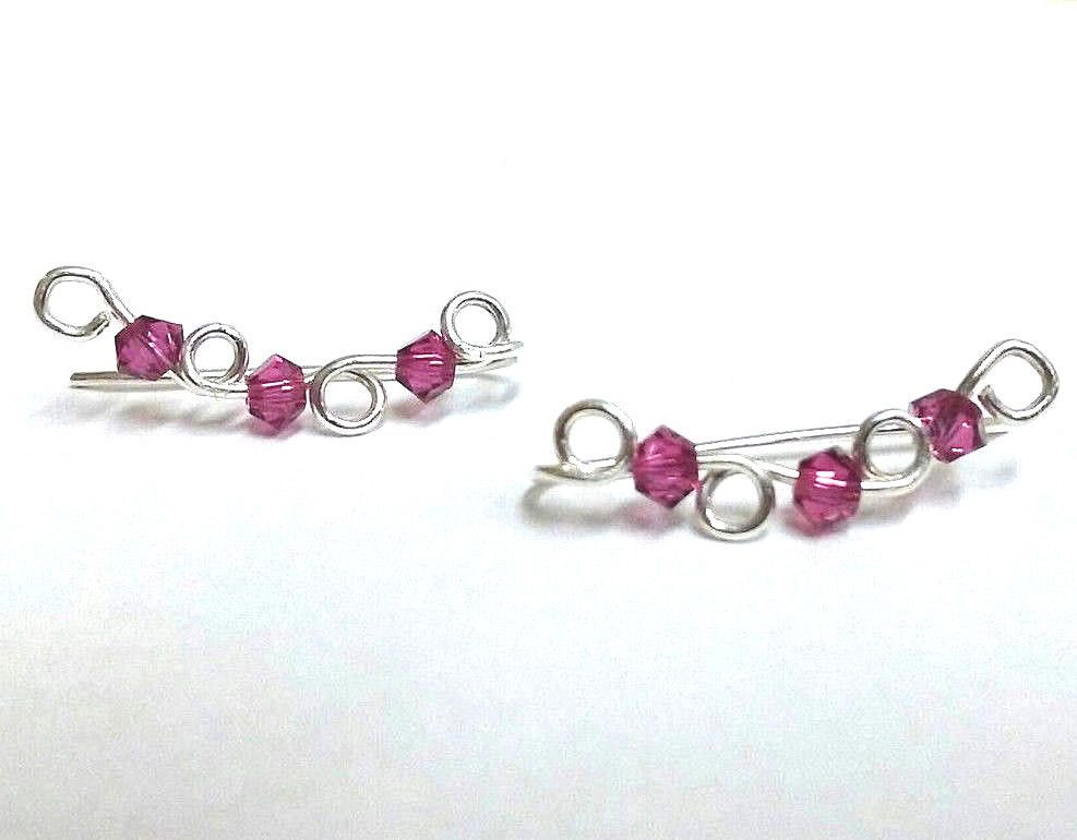 Sterling Silver Ear Climber Crawler Earrings with Fuchsia Swarovski Crystals #Climber