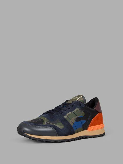 Chaussures De Sport En Cuir Imprimé Camouflage Bleu Rockstud Valentino oDEMDb54j