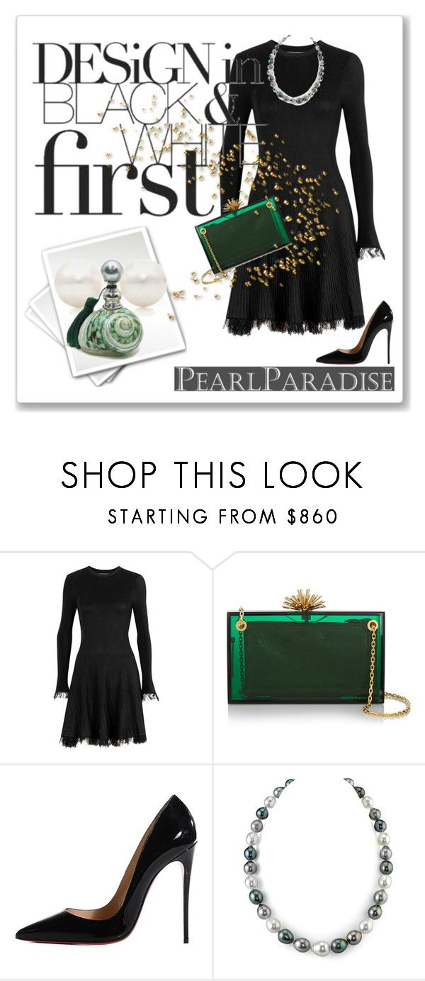 """""""Pearl Paradise"""" by kjlnelson ❤ liked on Polyvore featuring Sportmax, Charlotte Olympia, Christian Louboutin, Tiffany & Co., pearljewelry and pearlparadise"""