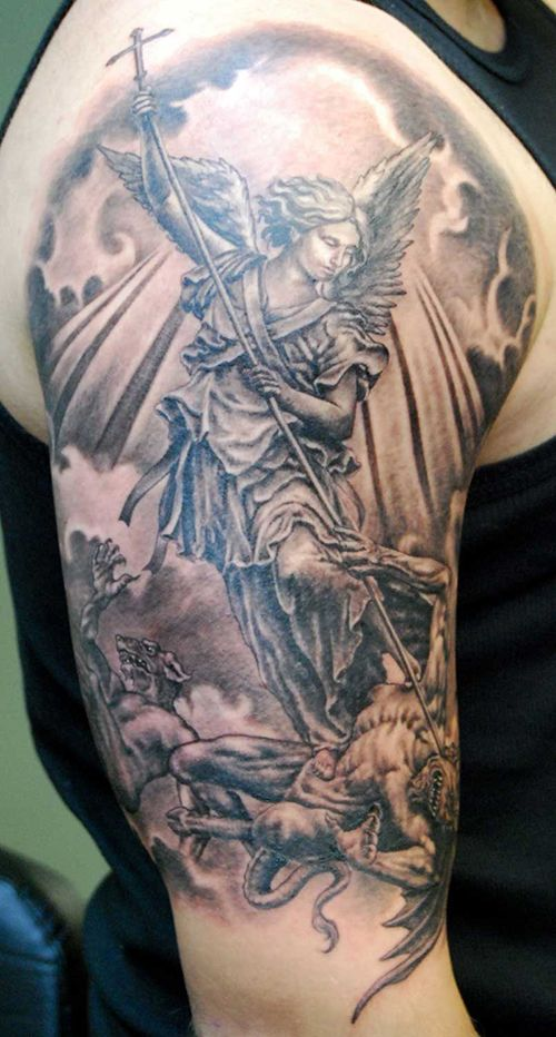 Classic Half Sleeve Guardian Angel Tattoo Designs Archangel Tattoo Guardian Angel Tattoo Designs St Michael Tattoo
