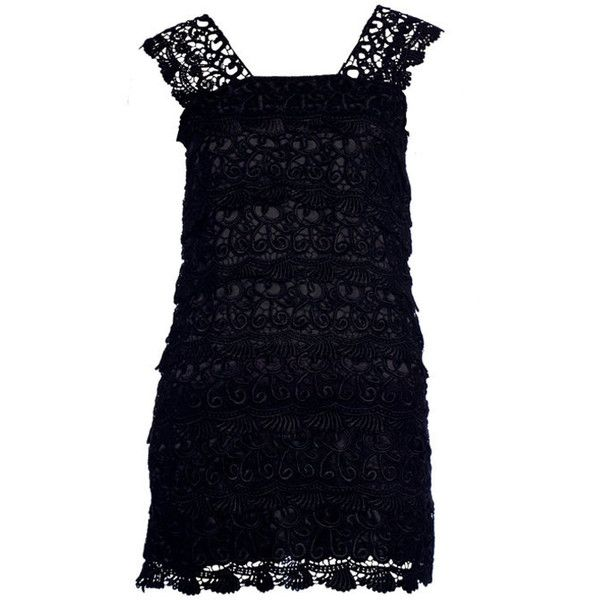 Womens Black Vintage Lace Dress - Clothing - desireclothing.co.uk ($32) ❤ liked on Polyvore featuring dresses, vintage lace cocktail dress, co dress and vintage lace dress