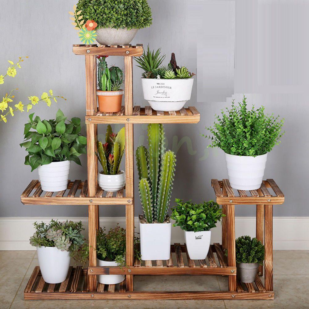 Details about New Strong 5 Tier Wooden Plant Stand Garden Flowerpot Shelf Sturdy Display Decor