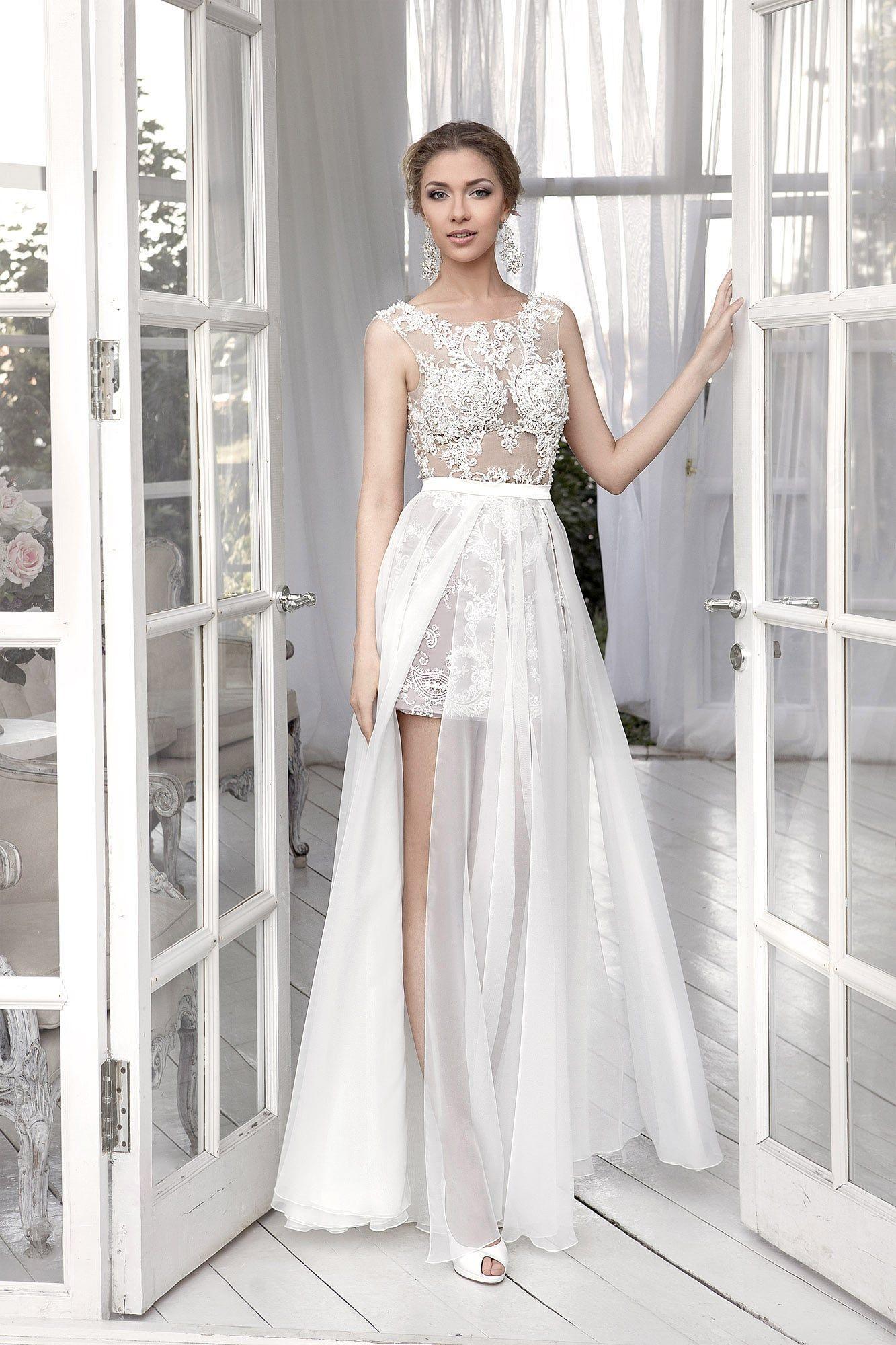 9f9c26ae1 Свадебное платье «футляр» с юбкой до середины бедра и подкладкой в тон кожи.