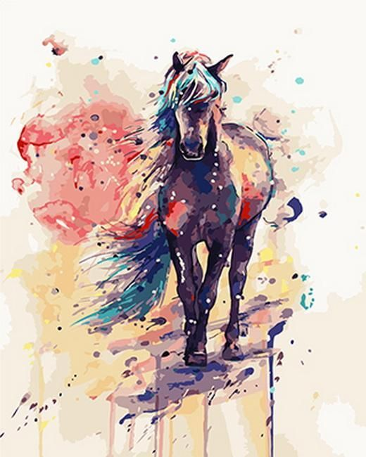 painting by numbers colorful horse #watercolorarts