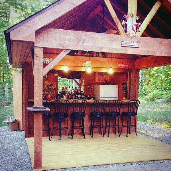 Cool Backyard Pools: 50 Pub Shed Bar Ideas For Men