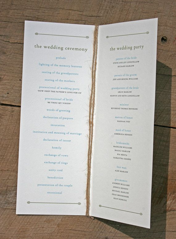 Rustic Tree Wedding Program With Twine Sample