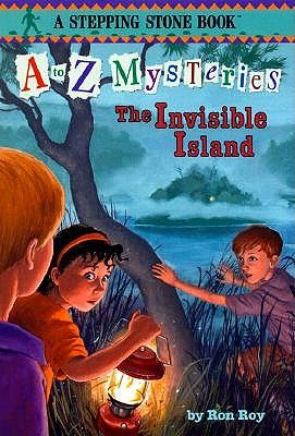 """The Invisible Island"" by Ron Roy - While picnicking on Squaw Island, Dink, Josh, and Ruth Rose find a hundred dollar bill, and when they return to explore further they find an entire cave full of money. (A to Z Mysteries #9)"