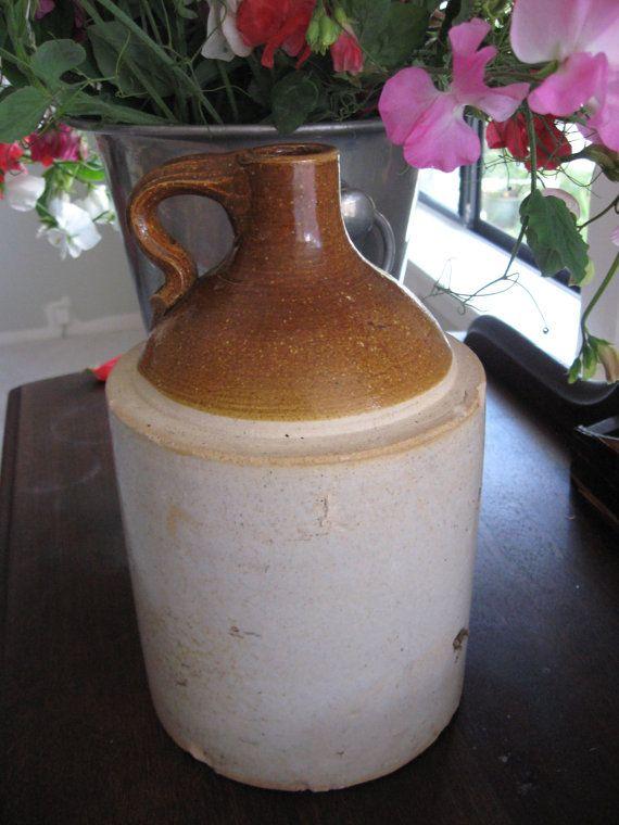 Antique Stoneware 2 Quart 1 2 Gallon Shoulder Crock Jug