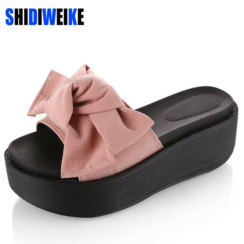 5793d008c32d8 SHIDIWEIKE Big Bowtie Woman Beach Flip Flops Summer Sandals Slip- Resistant Slippers  Platform Sandals Size 34-39 B768 Price   19.23   FREE Shipping ...