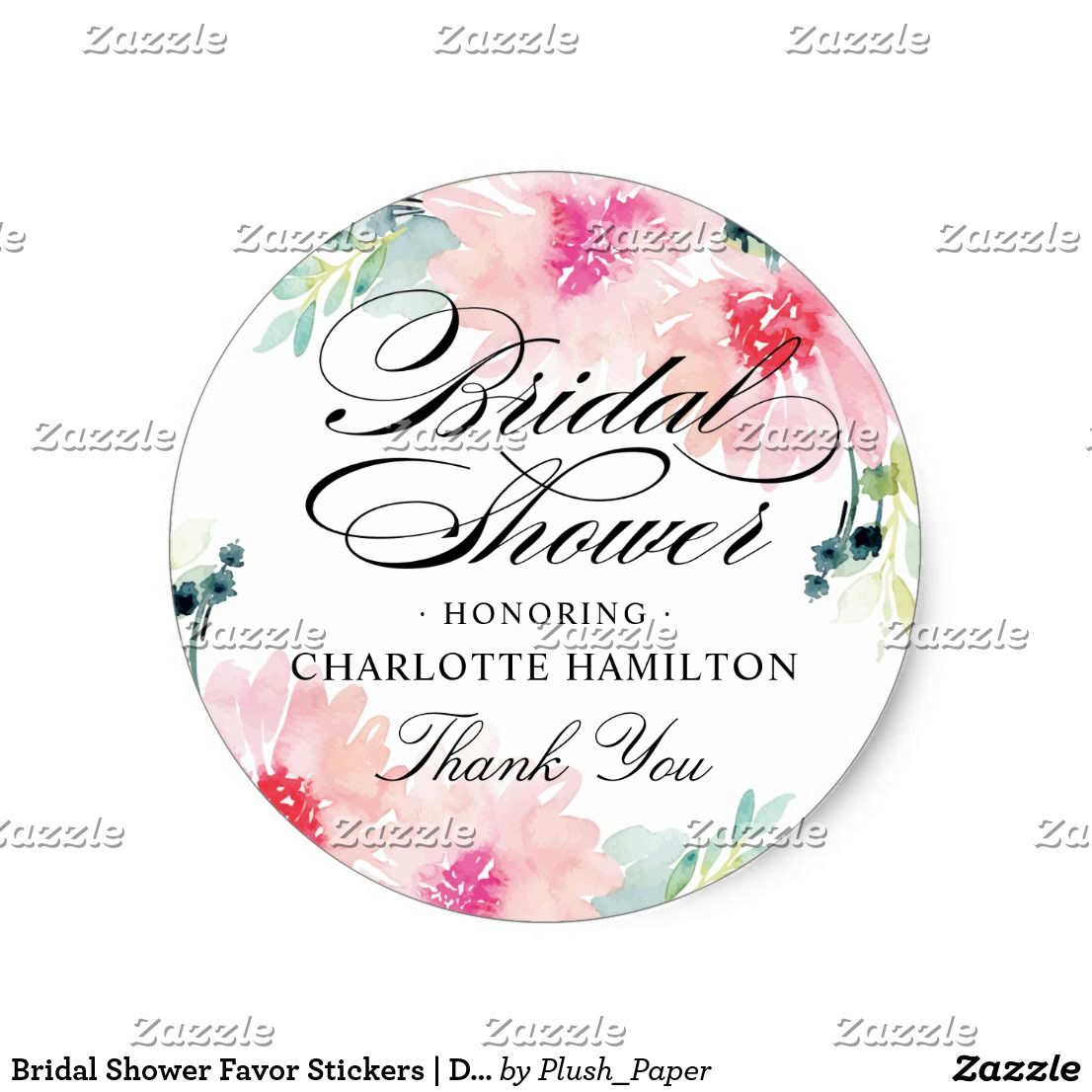 Bridal Shower Favor Stickers | Daisy Watercolor These elegant ...