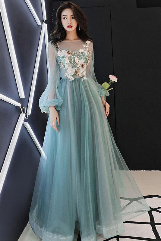 Charming Long Sleeves Tulle Prom Dress with Flowers, A ...