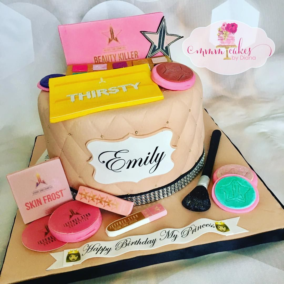 Jeffree Star Cosmetics Custom Birthday Cake Jeffreestar Birthdaycake Customcakes Flancake Oreocake Redve Custom Birthday Cakes Cake Makeup Birthday Cakes