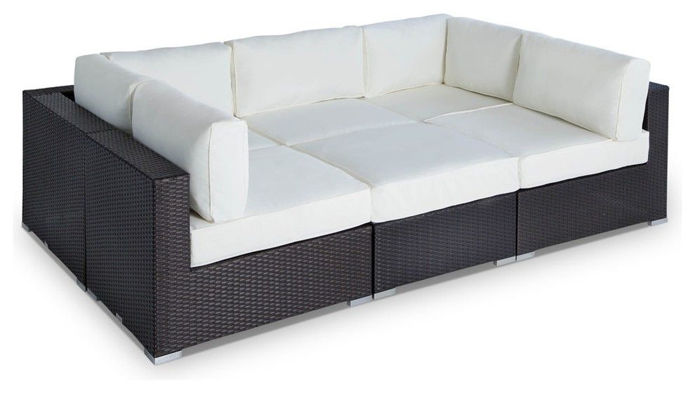 Outdoor Wicker Furniture Sofa Sectional 6 Piece Resin Couch Set