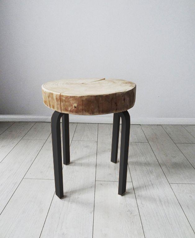 Stuhl, Hocker Mit Holzscheibe // Wood Slice Stool Via DaWanda.com