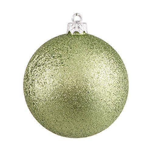 6 inch Lime Glitter Ball Christmas Ornament 4 per Bag