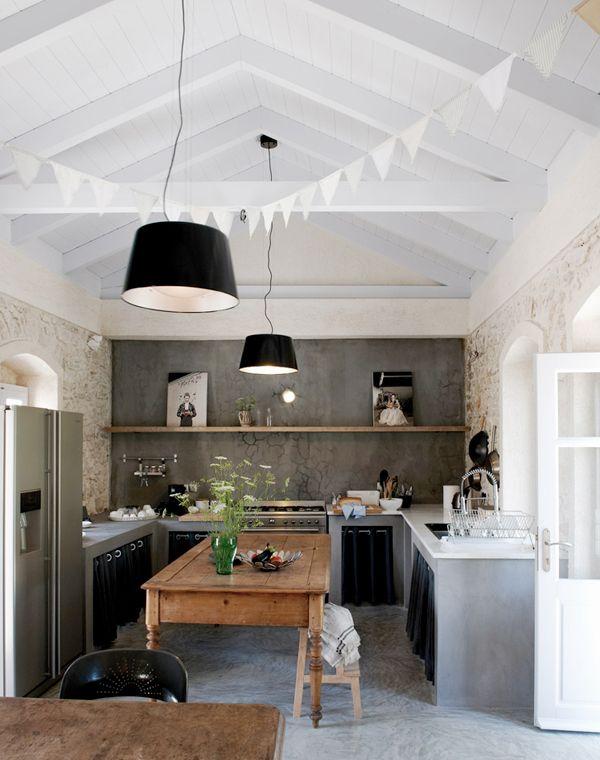 reforma #cocina, muebles de obra abiertos con cortinas, paredes de ...