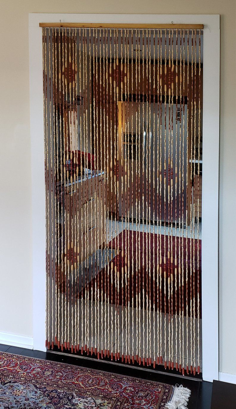Hand Made Bamboo Wood Beaded Curtain Doorway Etsy Beaded Curtains Beaded Curtains Doorway Doorway Curtain