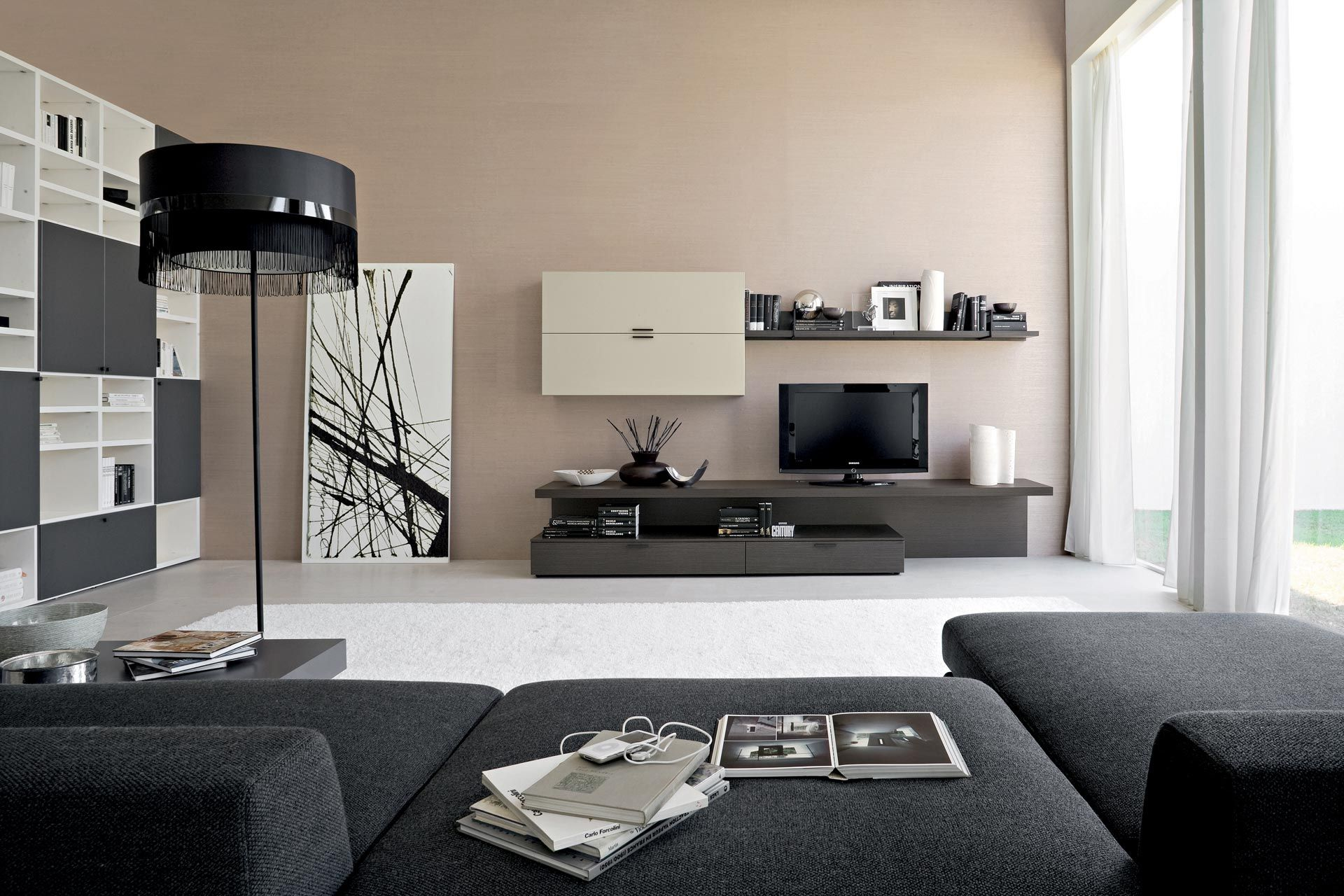 Best Dark Grey Sofa Beige Walls And Black White Furnishings 400 x 300