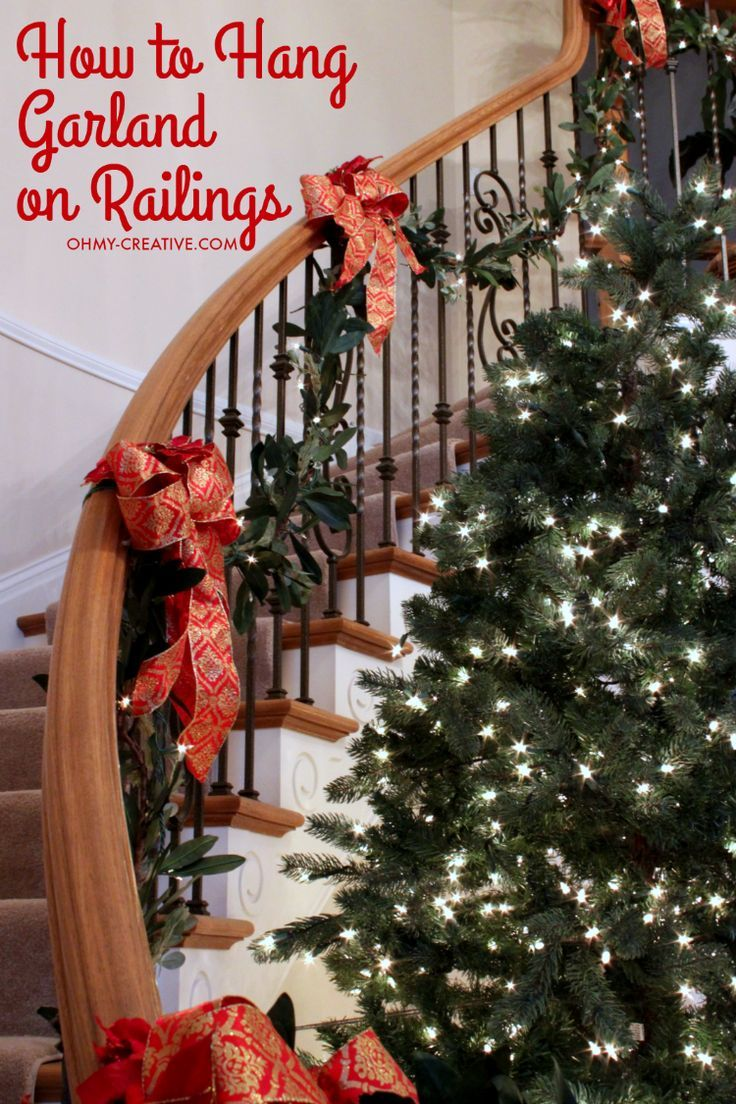 How To Hang Garland On Staircase Banisters Diy Home Decor Diy