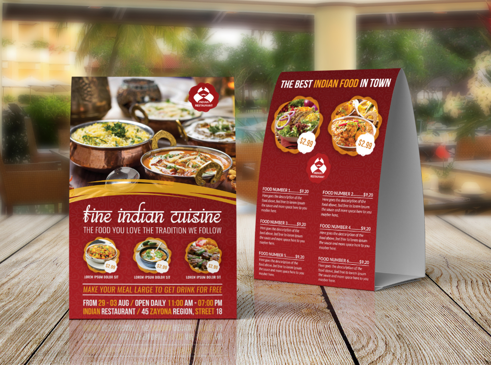 Indian Restaurant Table Tent Template By Owpictures On Dribbble