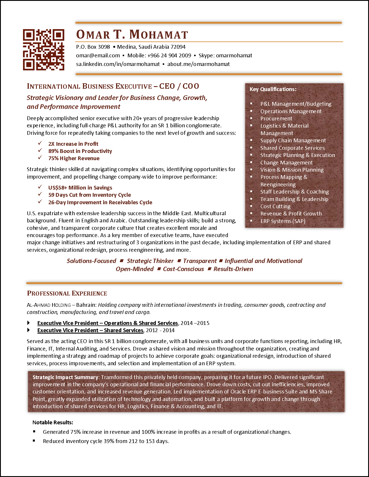 Award Winning Executive Resume Examples Business Resume Template Business Resume Good Resume Examples