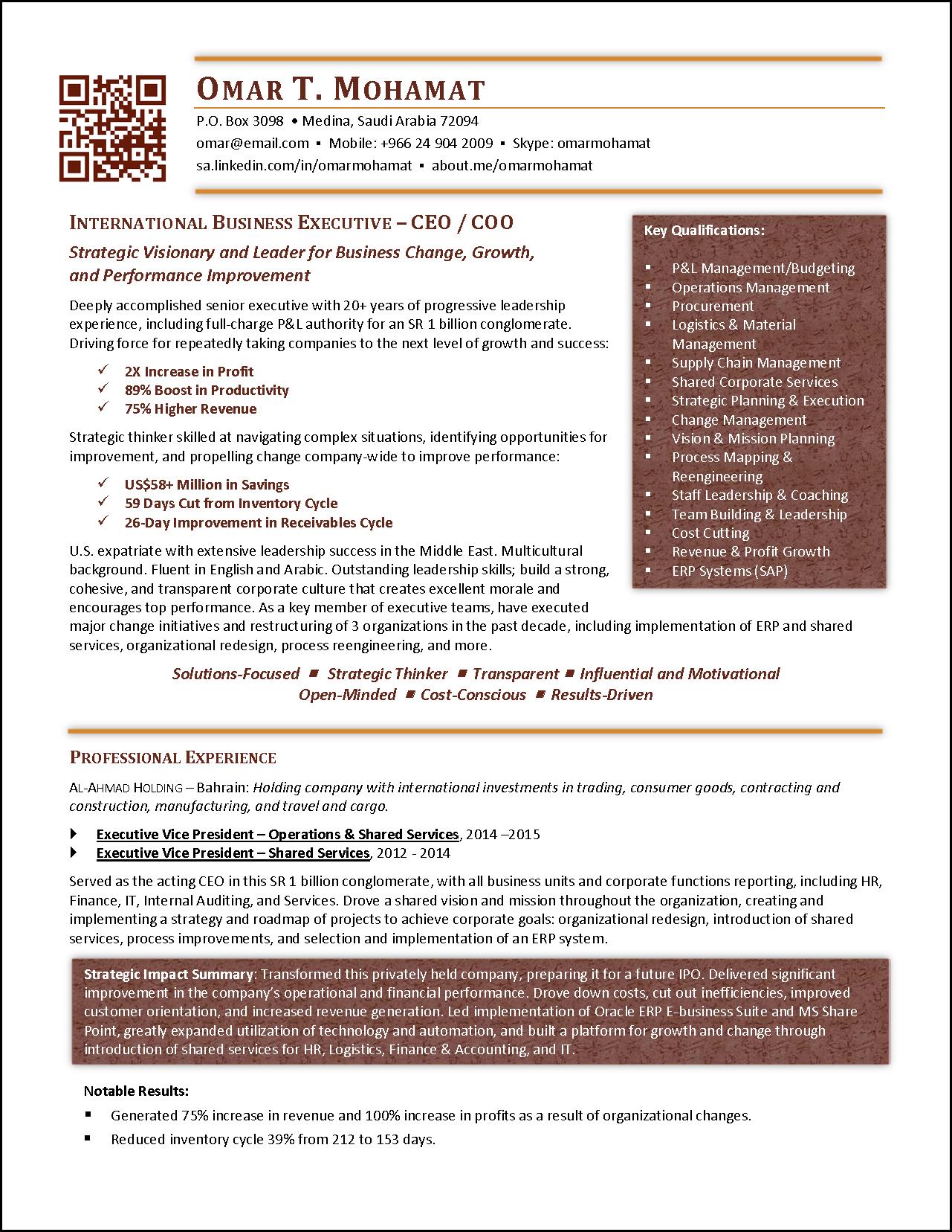 International Executive COO Resume Example Resume