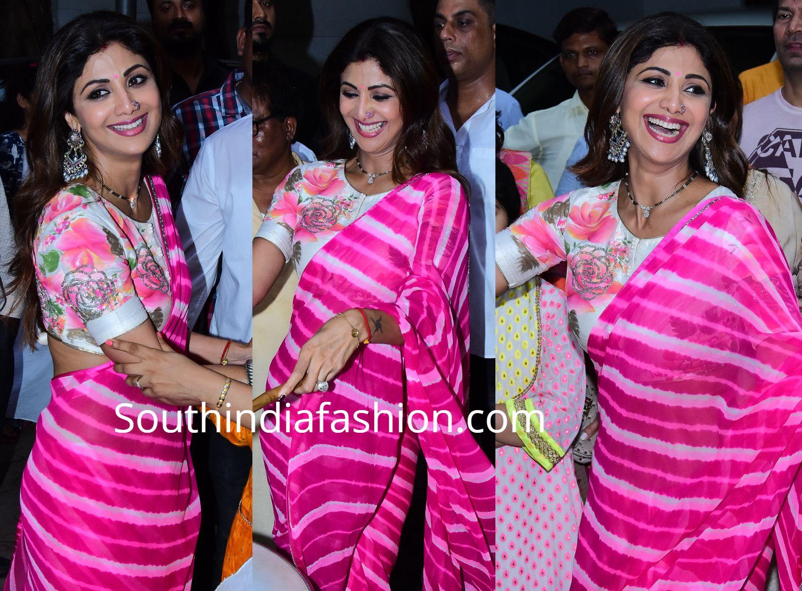9dc351da22 Shilpa Shetty in a leheriya saree at Ganesh Visarjan   sarees ...
