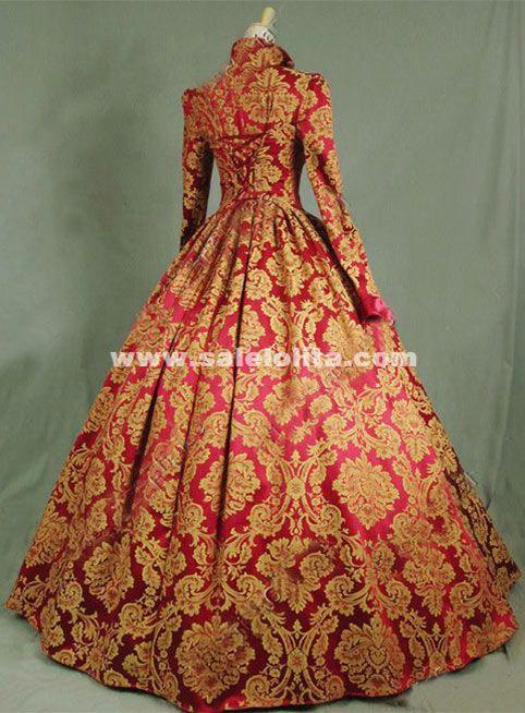 Brand New Print Brocade Long Victorian Tudor Jacquard Period Dress 17th Century Ball Gowns Costume Ruffles Fashion Period Dress Ball Dresses