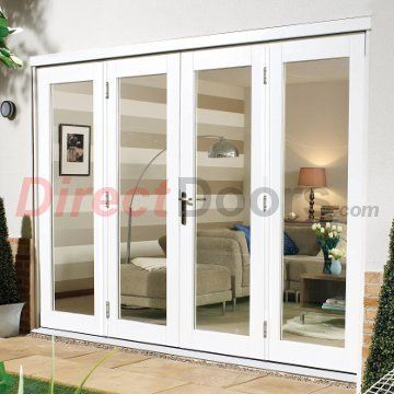 Nuvu White Exterior French Doors with Twin Side Frames, Fully Decorated
